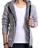 (アルファーフープ)α-HOOP メンズファッション お兄系 長袖 ブルゾン カーディガン パーカー ジャケット フード付き シンプル 柄 M ~ XL 大きいサイズ も AUT2 (07.浅灰(M))