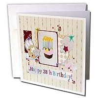 バースデーデザイン–コラージュの星、カップケーキ、and Candle、Happy 28日誕生日–グリーティングカード Individual Greeting Card