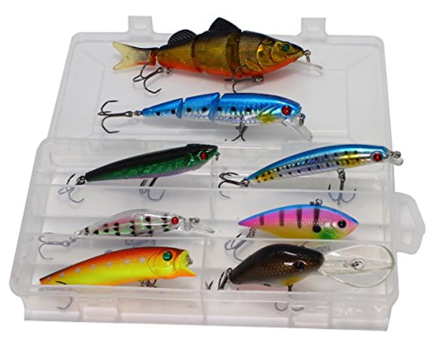 バブルクロニクル気質LotFancy 8個釣りルアー餌キットIncluding multi-jointed Swimbaits、Crankbaits、ミノールアーのWalleye Bass Troutサーモン、ストレージタックルボックス
