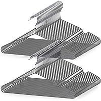AUV ハンガー すべらない PVC特殊ラバー加工 50本組 セット 洗濯ハンガー 衣類ハンガー 多機能ハンガー 滑り止め 変形にくい 物干しハンガー hanger すべらない 曲がらな 超強い荷重 乾湿両用 PVCハンガー(グレー)