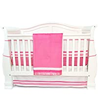 One Grace Place Simplicity Infant Crib Bedding Set, Hot Pink/White, 4 Piece [並行輸入品]