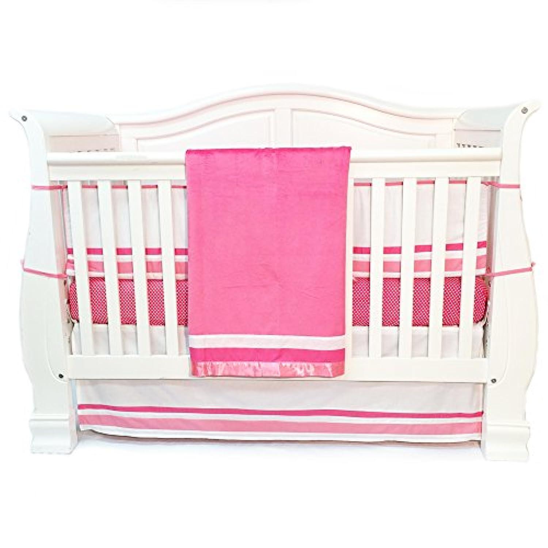 One Grace Place Simplicity Infant Crib Bedding Set, Hot Pink/White, 4 Piece [並行輸入品]