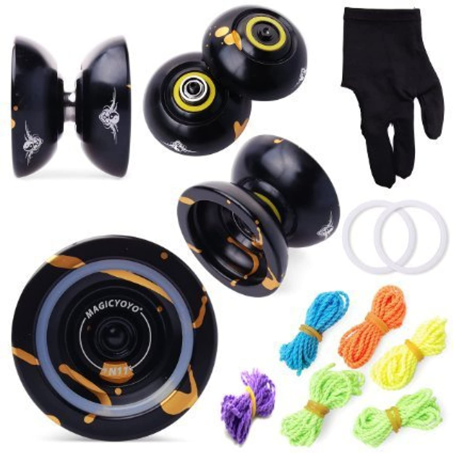 Magic Yoyo N11 with Weight Ring Alloy Aluminum Unresponsive Professional Yo-yo Toy +6 Strings+Glove(Black With Golden) by MAGICYOYO [並行輸入品]