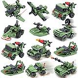 ブロックミニカー 12台セット, 軍事車両 戦車 兵隊 武器 子供 知育玩具 おもちゃ レゴ (lego) 対応 互換