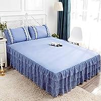 ベッド スカート,ほこり フリル ラップ コットン まわり レース ベッド ラッフル あり プラットフォーム ドロップ ウルトラ-柔らかい ベッドスプレッド-ブルー-150×200センチメートル(59×79インチ)