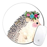 Royal Up Hedgehog Custom Mouse Pad Gaming Mat Keyboard Pad Waterproof Material Non-slip Personalized Round Mouse pad (7.8x7.8x0.08Inch) [並行輸入品]