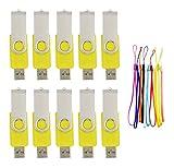 FEBNISCTE 4GB USBメモリ フラッシュドライブ 黄色 回転式 ストラップ付 まとめ買い[10個セット]