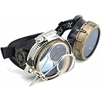 UMBRELLALABORATORY Have a Great Time with Steampunk Victorian Style Goggles with Compass Design, Colored Lenses & Ocular Loupe