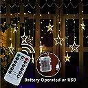 M T TECH 星型LEDイルミネーションライト USB/電池式 2M 12星 138球 カーテンライト ハロウィン飾り クリスマスパーティー ワードローブ 結婚式 学園祭 ガーデンパーティー 新年会 祭りの雰囲気 屋内外装飾 リモコン付き コンセント (イエロー)