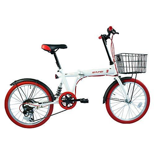 LUCK store 折りたたみ自転車 20インチ シマノ6段変速 カゴ・リアサスペンション付き ワイヤ錠・LEDライトのプレゼント付き 前後泥除け装備 ハンドルの高さ調節できる PL保険加入 19WHRD