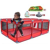 バスケットボールのフープとボールのマットセーフティボーイズガールズ屋内屋外プレイセンターヤードポータブル折り畳み幼児ホーム活動エリアフェンス、赤 (色 : 100 Balls)