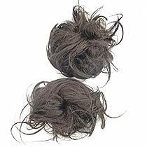 カールストレート付ゴム大 (茶)ウィッグ つけ毛 ゴム 七五三 かみかざり 髪飾り 成人式 髪飾り に