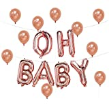 Oh Baby Balloon, 16inch | Rose Gold Letter Balloons | Rose Gold Baby Shower Decorations | Gender Reveal Party Supplies | Free 10pcs 12inch Latex Balloons