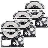 透明 テプラ 12mm テプラ 9mm テプラ 6mm 3個セット 黒文字 キングジム テプラテープ カートリッジ ST12K ST9K ST6K 互換品,ラベルライターテプラ 本体 tepra pr