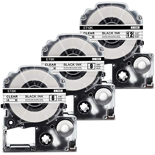 透明 テプラ 12mm テプラ 9mm テプラ 6mm 3個セット 黒文字 キングジム テプラテープ カートリッジ ST12K ST9K ST6K 互換品,ラベルライターテプラ 本体 tepra pro sr150 SR-GL1 SR250 SR170 SR920 SR970 SR670 など用テプラプロ テープ 長さ8m… …