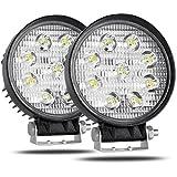 CooAgo LEDワークライト 厚型27W 広角タイプ(60度) 6000K IP67防水 CREE製 10-30VDC対応 12V/24V兼用 LED 作業灯 丸形 現場作業、集魚灯、看板灯、投光器 ( 2個セット、1年保証 )