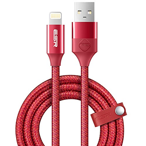 ESR ライトニング iPhone 充電ケーブル 【Apple認証】 Lightning ケーブル MFI 認証済み 2m 高級感 / 裂けにくい / オシャレ / プレゼント的 iPhone / iPad / iPod 各種対応 (ニッポンレッド 2M)