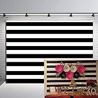 RUINI ブラック&ホワイト ストライプ 背景 誕生日 ウェディング パーティー 装飾 背景 7x5フィート