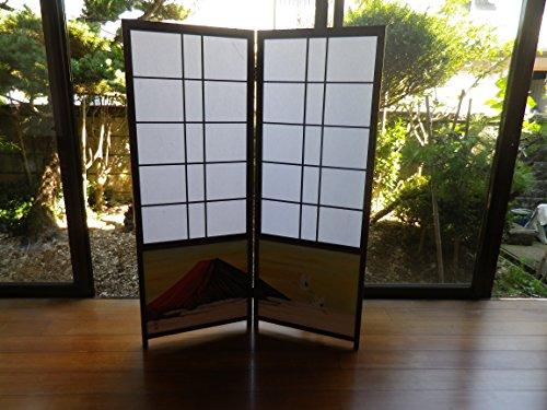 【障子屏風】古代色障子屏風(二曲)赤富士に翔鶴