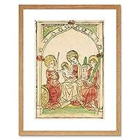 Painting German Madonna Saint Catherine Barbara Framed Wall Art Print ペインティングドイツ人聖人壁