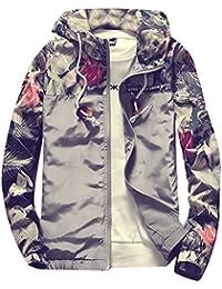 chenshiba-JP メンズロングスリーブ花柄パッチワーク軽量フード付きジャケット