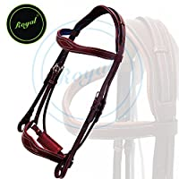 Royal Wave Dressage Bridle with Punch and Loop Stylish Head Piece & PP Rubber Grip Reins./ Vegetable Tanned Leather./ Stainless Steel Buckles.