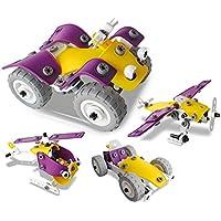 CARLORBO ねじ止めブロック おもちゃ 知育玩具 変形 4種類モデル レースカー/オフロードバイク/ヘリコプター/戦闘機 立体パズル 子供向け プレゼント 100ピース