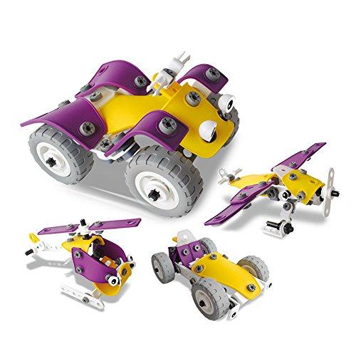 CARLORBO ねじ止めブロック おもちゃ 知育玩具 変形 4種類モデル レースカー/オフロードバイク/ヘリコプター/戦闘機 立体パズル 子供向け 玩具 男の子 プレゼント 100ピース