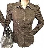 ドット 柄 レディース ブラウス 長袖 カジュアル & オフィス おしゃれ パフ スリーブ かわいい カラーチップ 襟つき シャツ (ブラウン M)