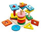木製 知育玩具 型はめ 形合わせ パズル 棒さし 幾何認識 おもちゃ(男女共用、3歳から)