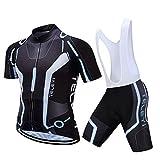 ロードバイク ウェア・サイクルウェア・サイクリングジャージ・自転車ウェア ・男性・高弾力/速乾吸汗通気/パッド付き・ビブタイプもある 半袖  上下セット 春夏用 (XL, G ビブタイプ)