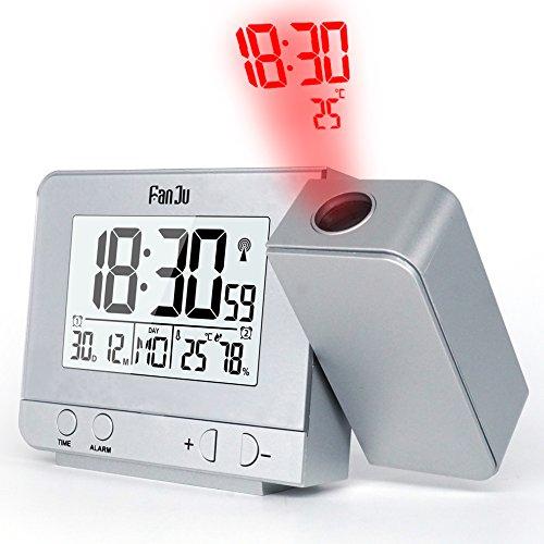 FanJu FJ3531S 温度と時間の投写を伴う投影アラームクロック/USB充電器ポート/室内温度と湿度/スヌーズ機能付きの手動時間調整/カレンダー/ダブルアラーム