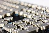 HKW タイプライター風メカニカルキーボード 青軸 104キー USB有線 日本語キーボード (アンティーク風)