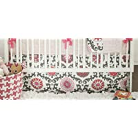 New Arrivals Ragamuffin Pink 2 Piece Crib Bedding Set, Grey by New Arrivals