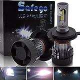 Safego h4 ledヘッドライト Hi/Lo 6500K 10000LM DC12-24V 60W(30Wx2)高輝度 LED チップ搭載 無極性 2年保証 車検対応