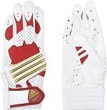 adidas(アディダス) 野球 少年用 バッティンググローブ Jr Professional (両手用) ホワイト×パワーレッド (坂本勇人選手モデル) BIS25