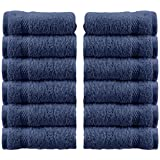 White Classic Luxury Cotton Washcloths - Large Hotel Spa Bathroom Face Towel | 12 Pack | Navy Blue