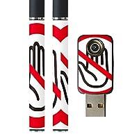 スマコレ プルームテック ploom tech バッテリー スティック 専用スキンシール USB充電器 カバー ケース 保護 フィルム タバコ ユニーク ストップ マーク 手 赤 レッド 008385