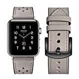 エルメス 時計 Apple watch band Hermes アップルの時計バンドの38 mmの42 mmのエルメス本物の革のバンドを見て交替アップル3ならびに1ナイキエルメス・エディションのための古典的な金属の留め金によるシングルアダプタツアー (38mm, Gray)