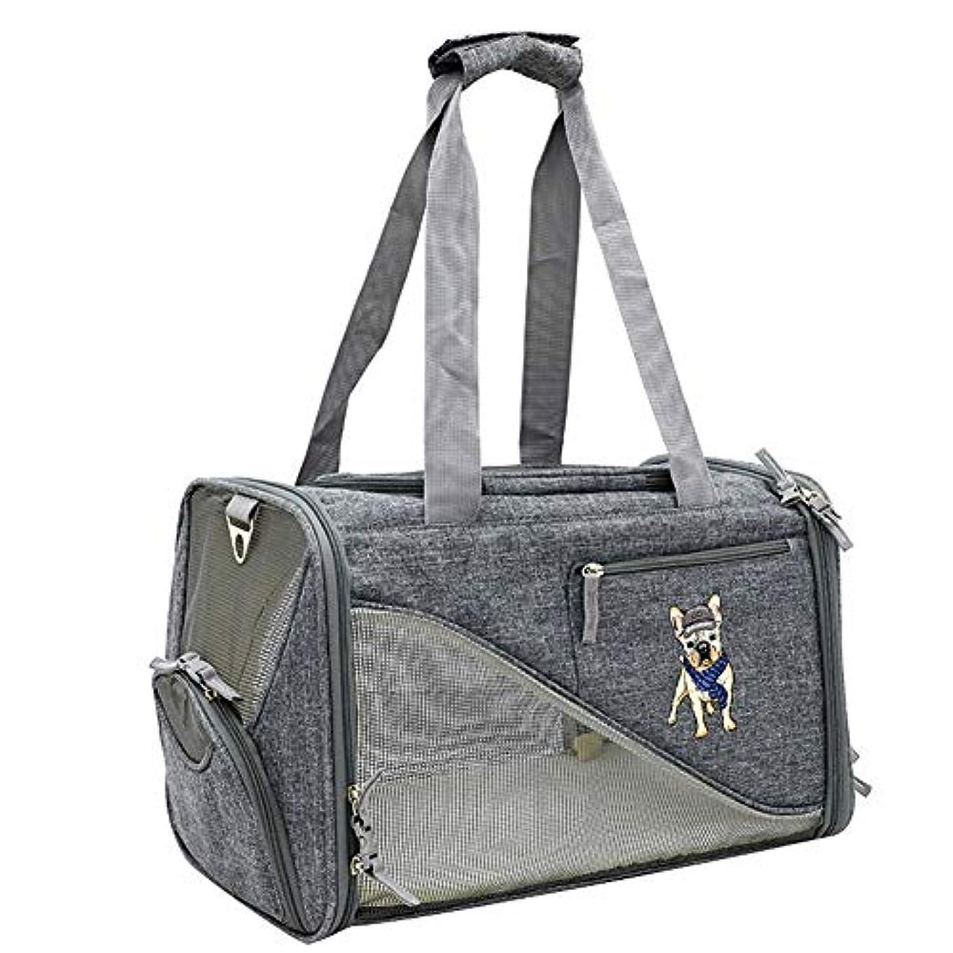 モーター受け入れマーベル中小猫の犬の子犬のためのメッシュ付きポータブルトラベルペットバッグショルダーバッグ(最大14ポンド),B