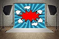 スーパーヒーロー ブルー レッド ブームの背景 ベビーシャワー ウェディング 誕生日パーティー デコレーション マイクロファイバー 写真 背景 スタジオ 小道具 7フィート (幅) x 5フィート (高さ)