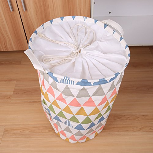 BUYUE ランドリー収納 麻製の洗濯物用かご 折り畳み式収納バスケット 巾着 幾何図形