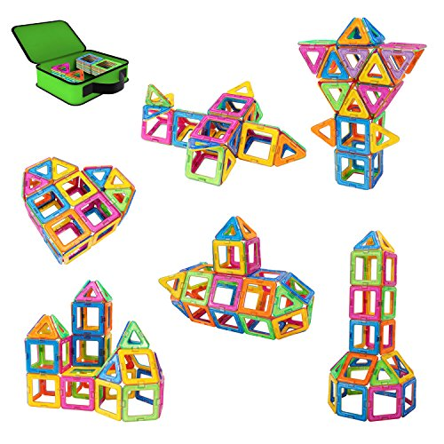 [ニューアイランド]Newisland Magnetic Blocks, 40Pcs Set Kids Magnet Construction Toys Rainbow Color f...
