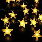 Star Fairy Lights, by myCozyLite, Warm White String Lights, Battery Powered, 40 LED Stars, 5m (Flat Star)