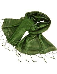 きゃら(Cara) タイシルク ストール シルク100% 薄手 普通サイズ 手染め 無地 濃い緑