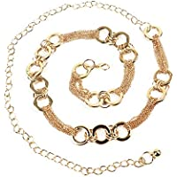 Pomeat Metal Chain Belt Metal Chain Dress Belt Hollow Out O Ring Circle Chain Belt Decorated Skinny Waist Belt for Women - Gold