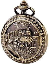 TREEWETO 機械式 懐中時計 鉄道 中空ケース スケルトン スチームパンク ブロンズ ローマ数字 チェーン付き