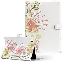 MediaPad M5 Pro Wi-Fiモデル CMR-W19 HUAWEI ファーウェイ タブレット 手帳型 タブレットケース タブレットカバー カバー レザー ケース 手帳タイプ フリップ ダイアリー 二つ折り フラワー 花 イラスト 001068