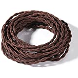 FadimiKoo Electrical Cord 28Ft Brown Round Cotton Cloth Cord, 18/2 Electrical Antique Wire For Vintage Bulb, Pendant Light An
