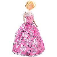 【ノーブランド品】ドール用 人形用 ドレス 花付 アクセサリー 豪華 ピンク